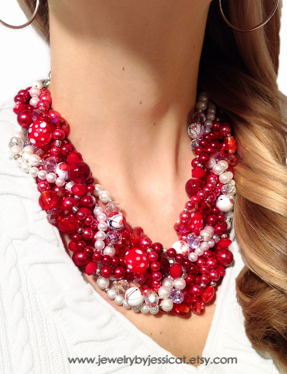 TWISTED, Statement Necklace, Red, White, Deep Red, Ivory, Chunky, Pearls, Bridal, Jewelry by Jessica Theresa