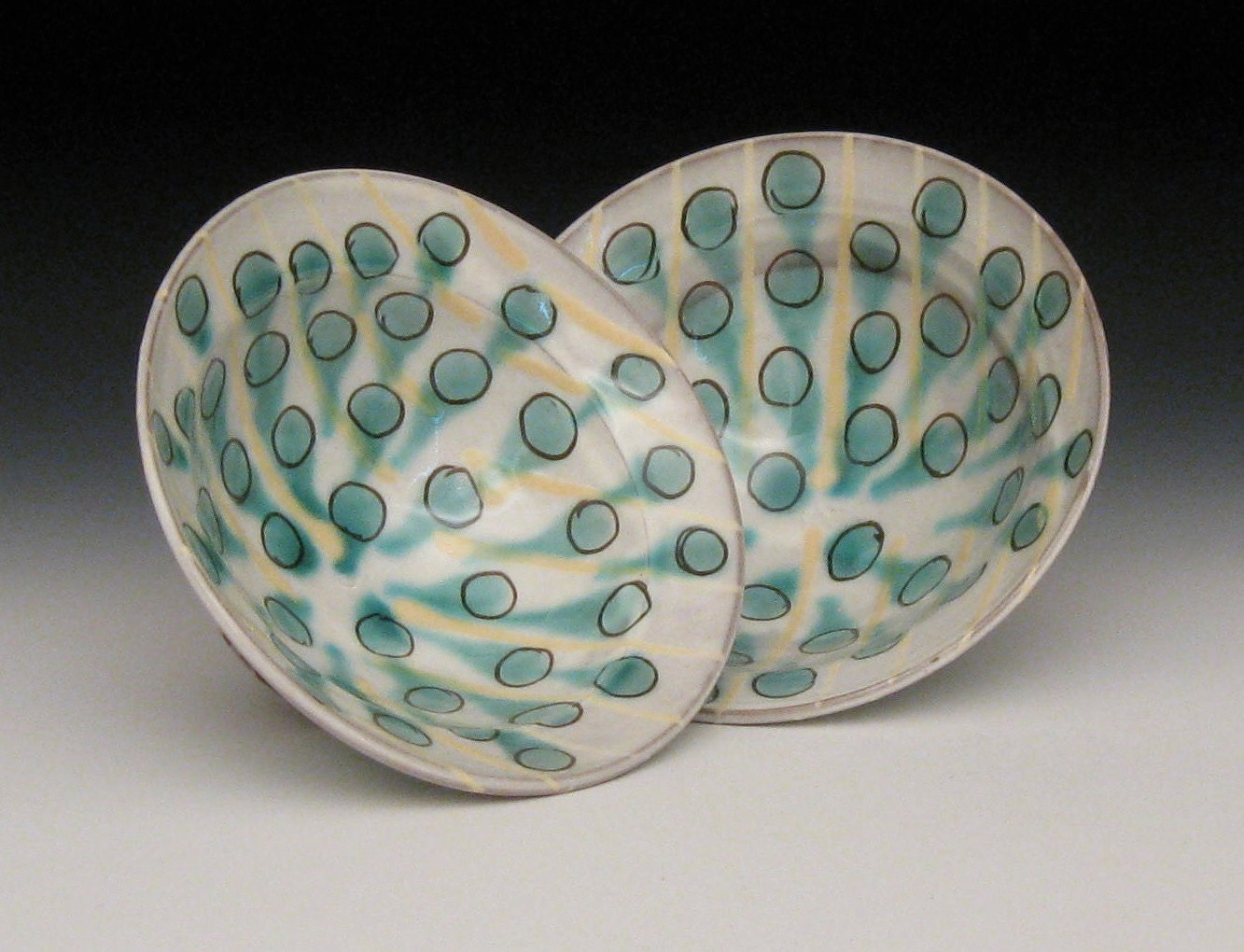 pair of salad / pasta bowls with green dots and yellow lines - brayceramics