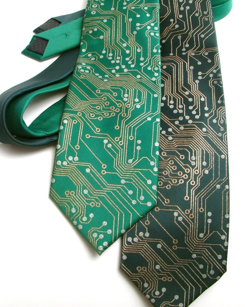 Circuit Board Geek Tie - Metallic Copper and Silver Ink on Green or Black Necktie