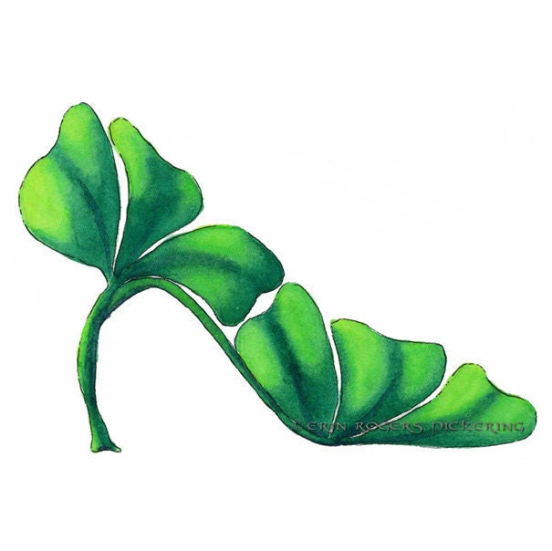 Shoe Art Green Shamrock Stiletto 5x7 Print