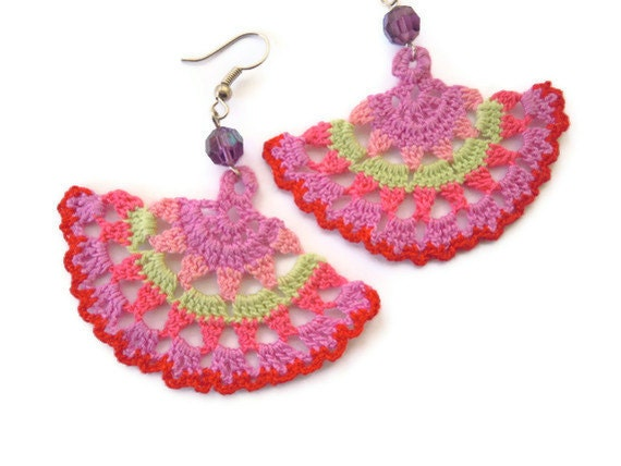 crochet earings- multicolored - PashaBodrum