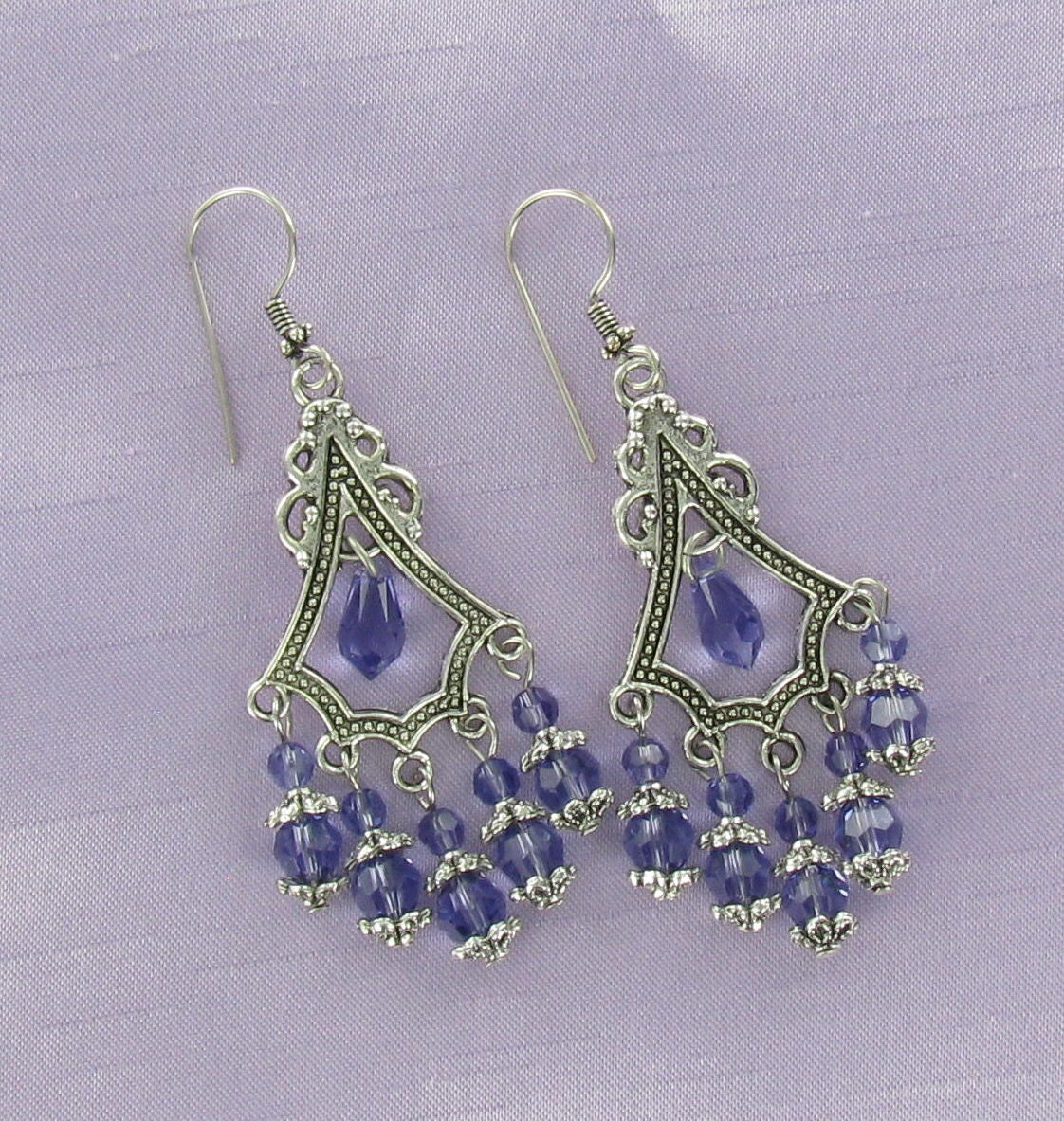 CHANDELIER EARRINGS - Pewter and Swarovski Crystal Dangles
