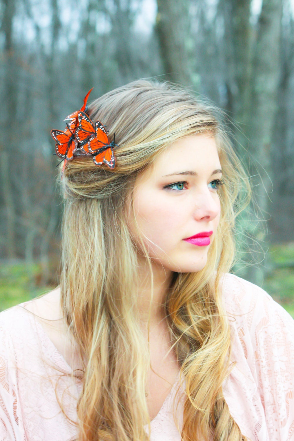 butterfly hair comb, orange monarch hair comb - serenitycrystal