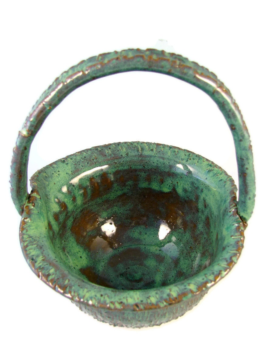 Emerald Green Stoneware Basket - Ceramic Basket - Fill for the Perfect Gift Basket - Hand Made Pottery - Wheel Thrown Pottery - Ships Today