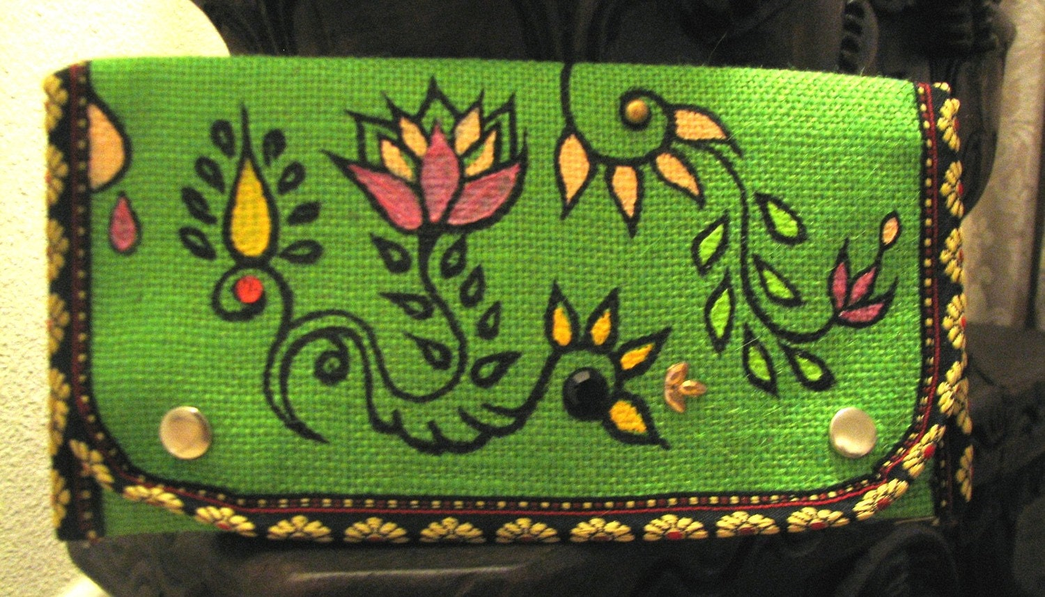 Green Jute Purse, Hand Painted, Boho Chic Eco friendly Accessory