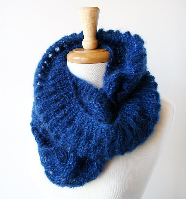 Fall Winter Fashion - Knit Snood Scarf - Mohair and Silk Cowl - Sapphire Blue - TickledPinkKnits