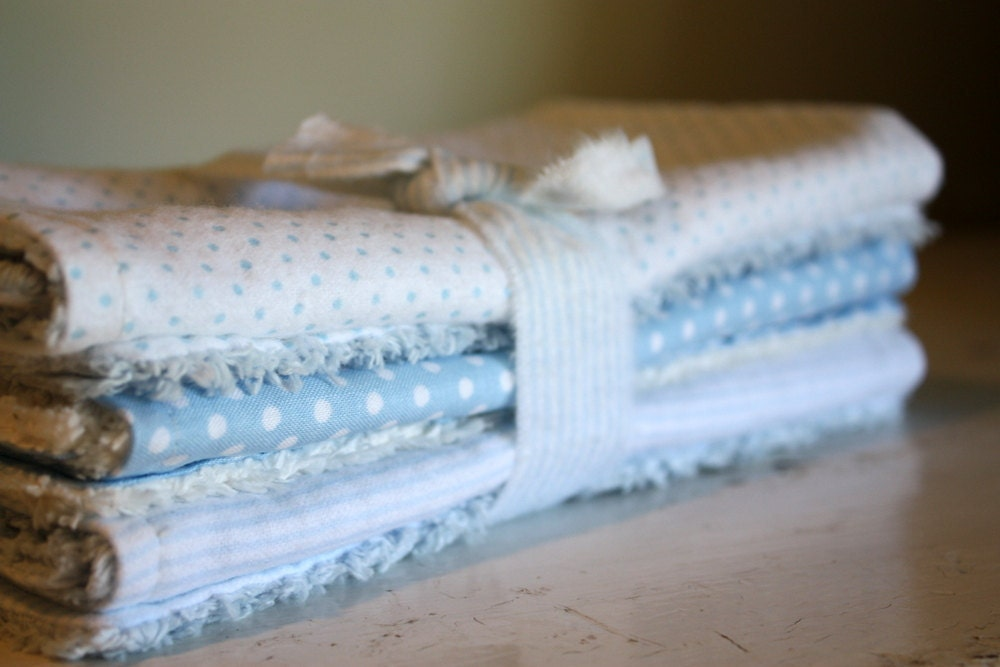 Chenille burp cloths for baby boy in blue and by thepaisleymoon