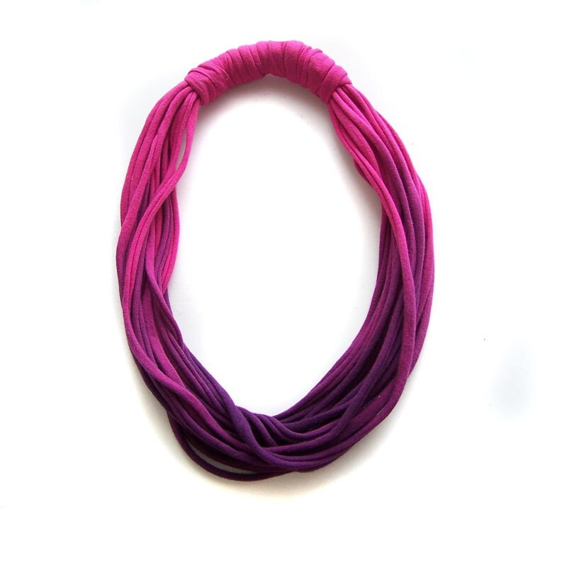 Ombre T Shirt Cotton fabric Necklace in fuchsia and purple, T-shirt Infinity Scarf Necklace - IskraAccessories