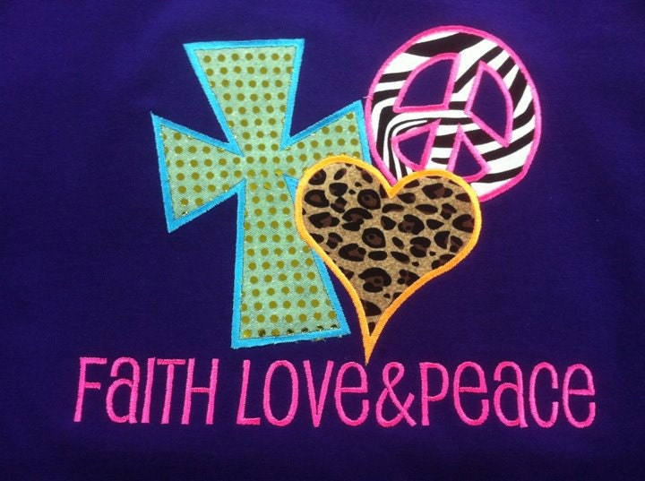 Faith Love & Peace Embroidered Shirt