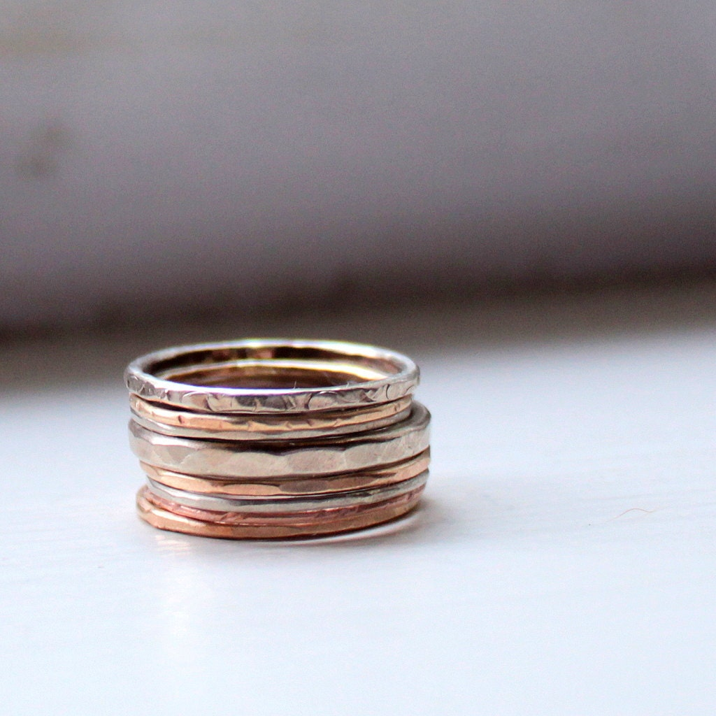 Autumn Wedding Rings: Red, Yellow and White 14k Gold Stacking Rings - tinahdee