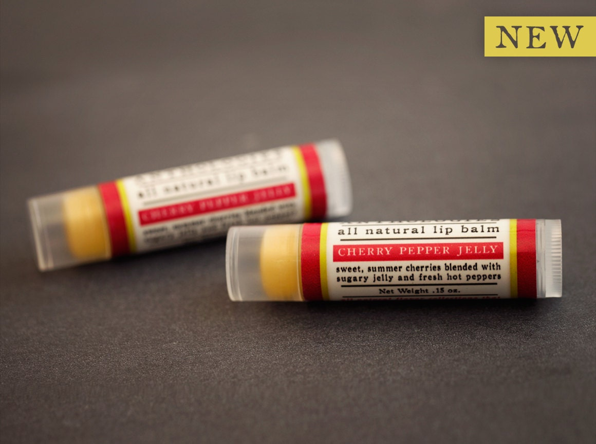 Cherry Pepper Jelly Lip Balm - All Natural - Sweet Summer Cherries with Fresh Hot Pepper