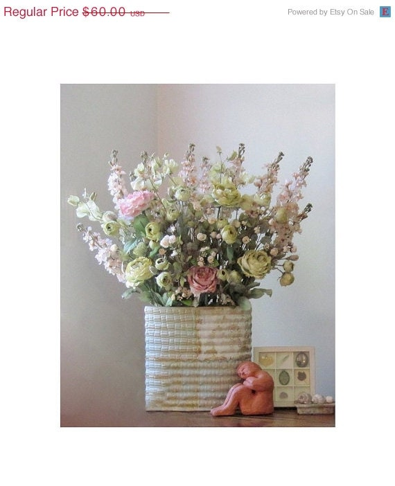 Cabbage Roses and Snapdragons Flower Still Life , Featured On Etsy's Front Page,  16  x 20 Photograph, Cottage Chic Decor