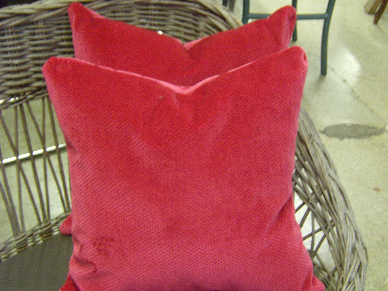Set of Hot Pink Textured Velvet Pillows