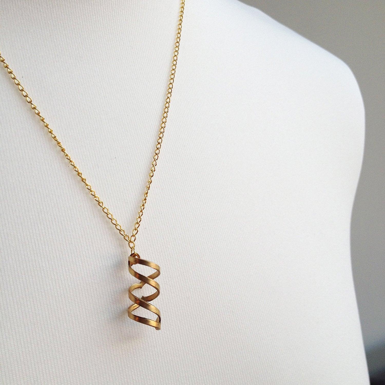 Modern Chic SPIRAL TWIST Brass Pendant