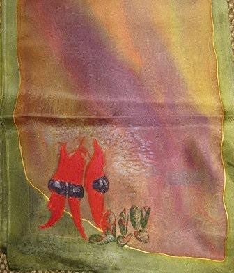Australian Hand Painted Silk Scarf Flower Desert Pea