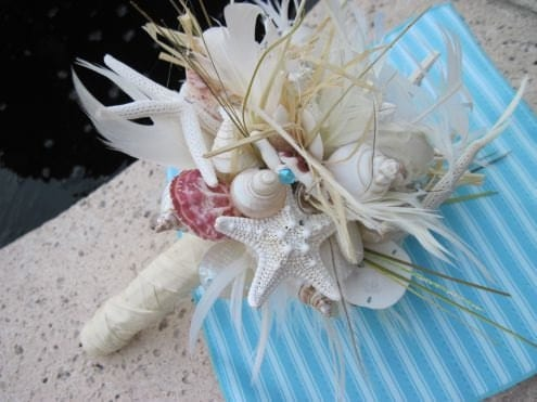Go Natural Seashell Bouquet with Raw Silk and Lots of Sea Life - iDoArtsyWeddings