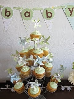 Cupcake Toppers Pinwheels Custom Made To Order Set of 12 for Baby Shower Bridal Shower birthday party favors or wedding