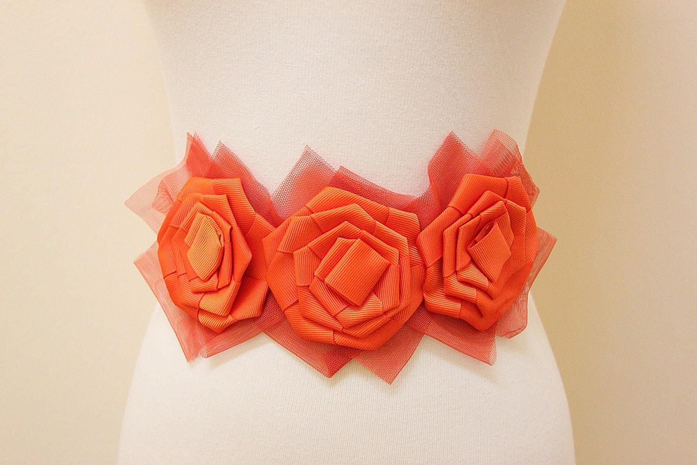 Orange Color Grosgrain & Mesh Flower Headband // Sash - lovelikestyle