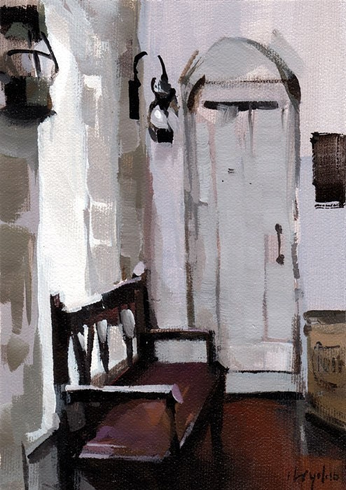 Art Print Interior Pale White Purple Bench 5x7 on 8x10 - Bench by David Lloyd - lloydgallery