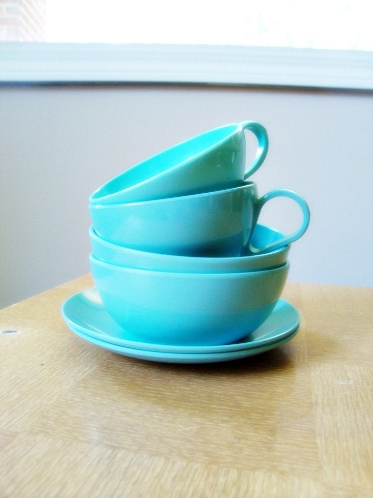SALE - 20% OFF - Turquoise Melmac (Melamine) Dishes - Set of 2
