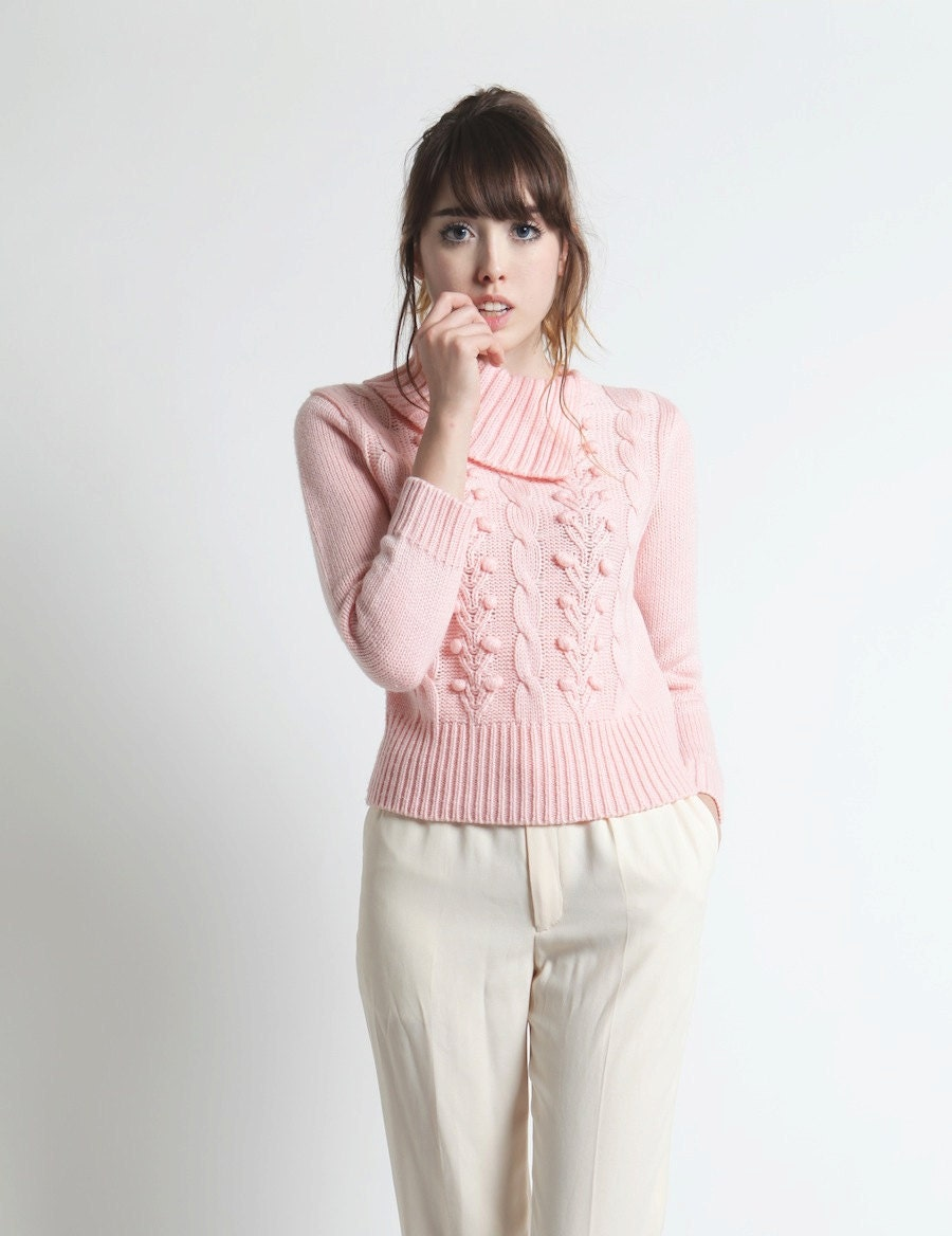 Vintage 80s Pastel Candy Pink Country Club Half Turtleneck PullOver Sweater In Petite Small - ichigovintage