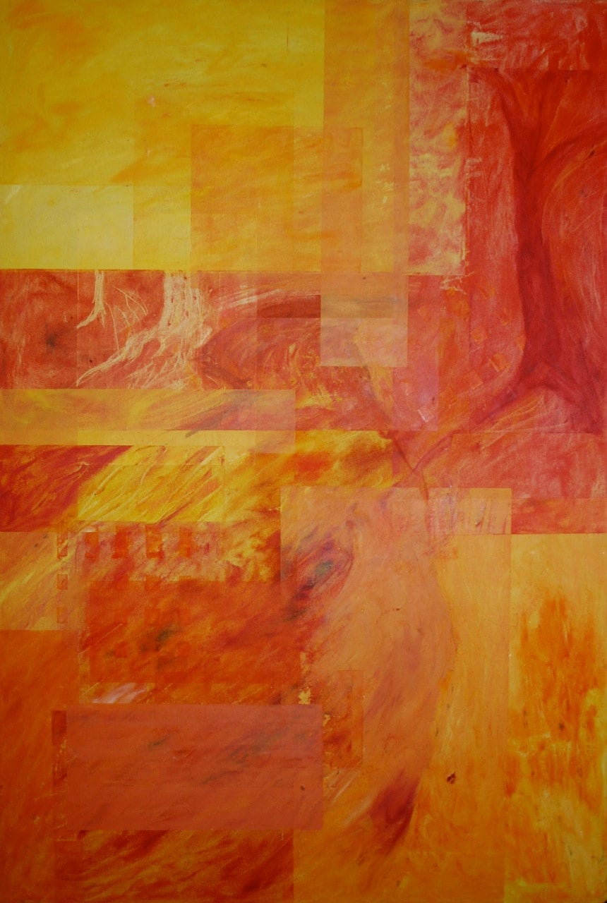 "Fire in the Woods -- 36""x24"" -- Original Abstract Oil Painting - GalleriaChristina"