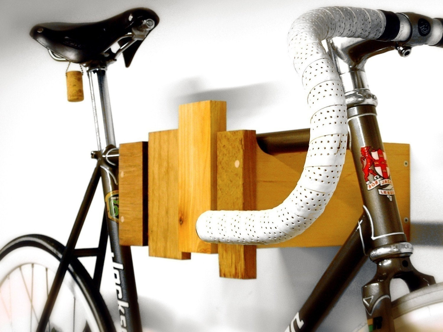 wall mounted bike rack - reclaimed wood - clear oil finish