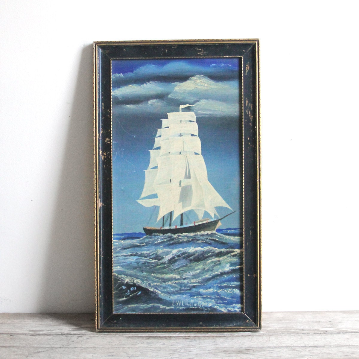 vintage framed ship oil painting