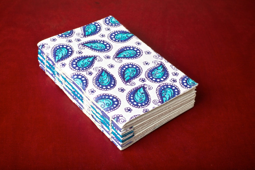 White and blue paisley softcover journal / sketch book - iteration3