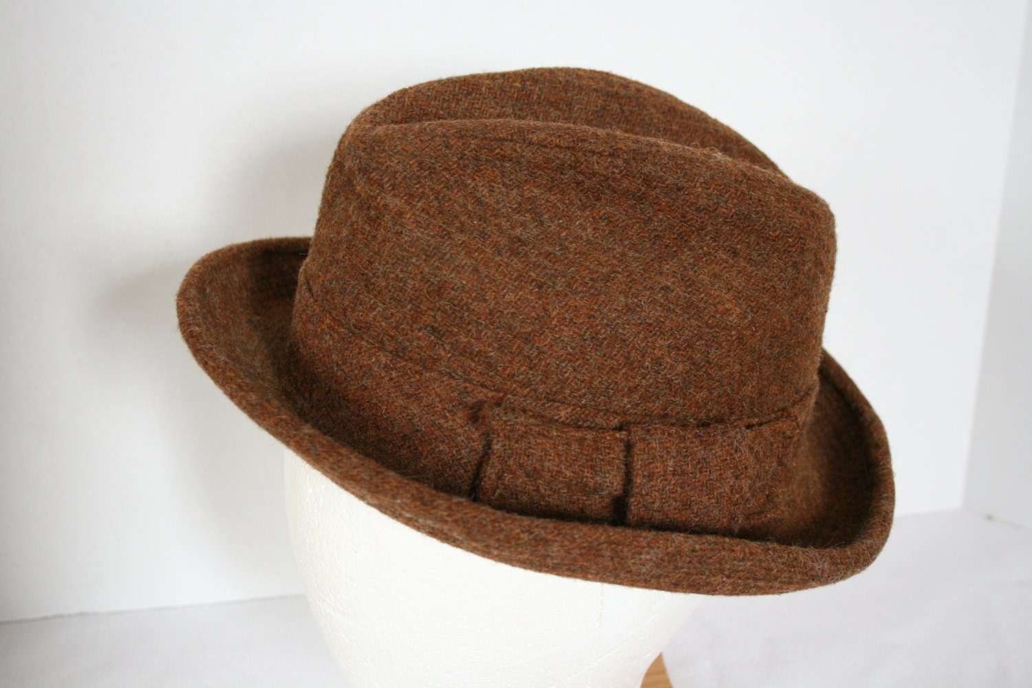 Vintage Mens Tweed Wool Harry Levinson Country Casuals Fedora Hat
