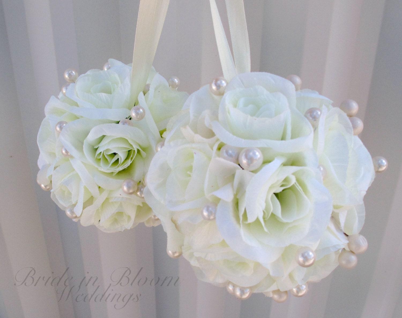 Wedding flower balls ivory flower girl pomander Wedding ceremony decorations - BrideinBloomWeddings