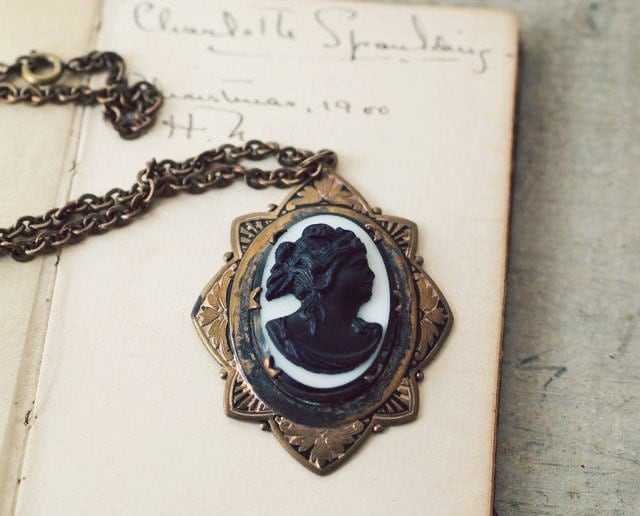 Victorian Milk Glass Cameo Mourning Necklace, Victorian Silhouette Statement Necklace - OhDearViolet