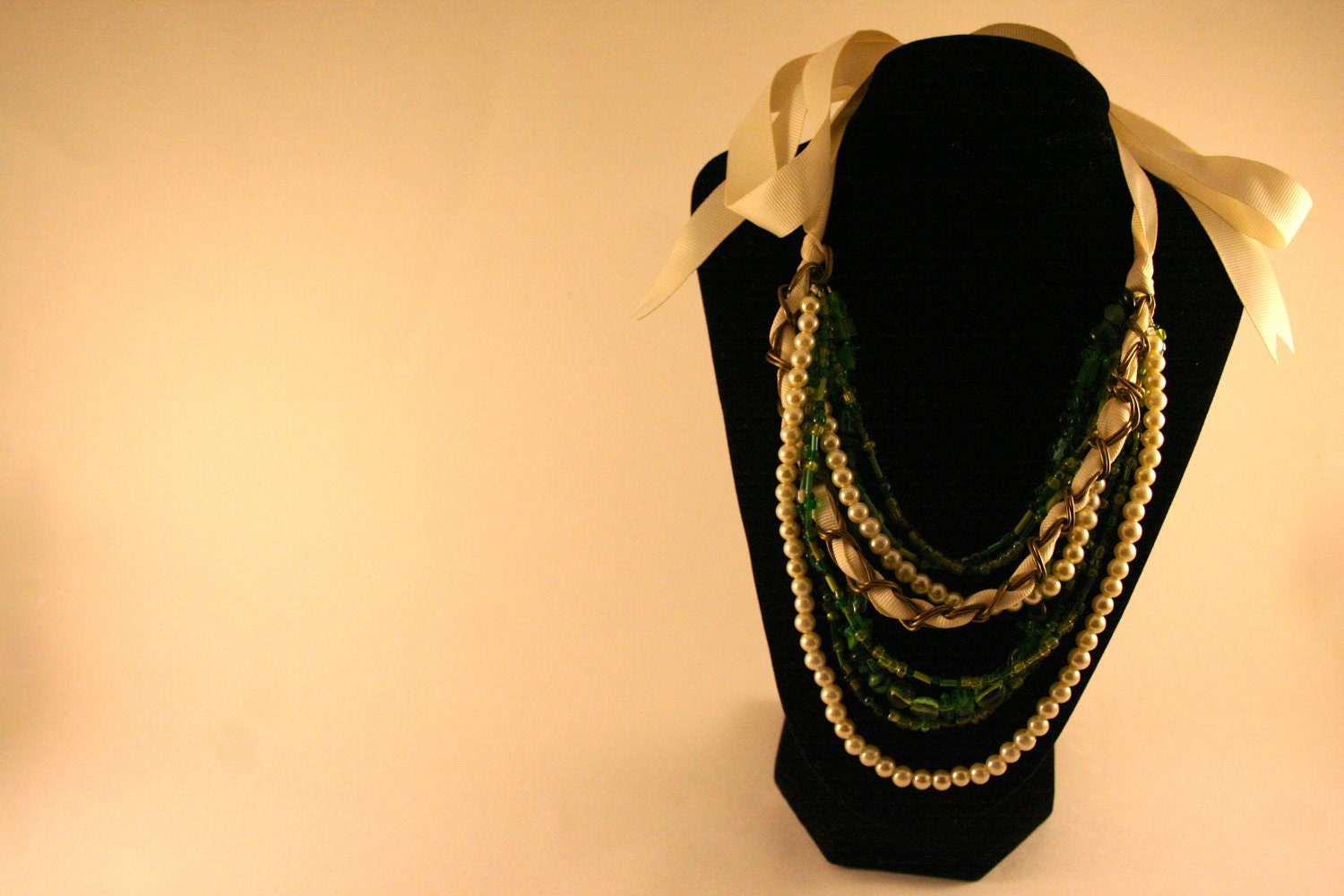 Green and Pearl Ribbon Tied Necklace - Boden Inspired - ABerryCrafts