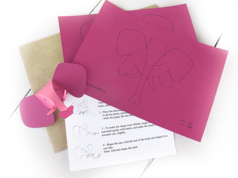 2 petites têtes d'éléphant, mini trophé de chasse, carte cadeau à découper, en rose pink