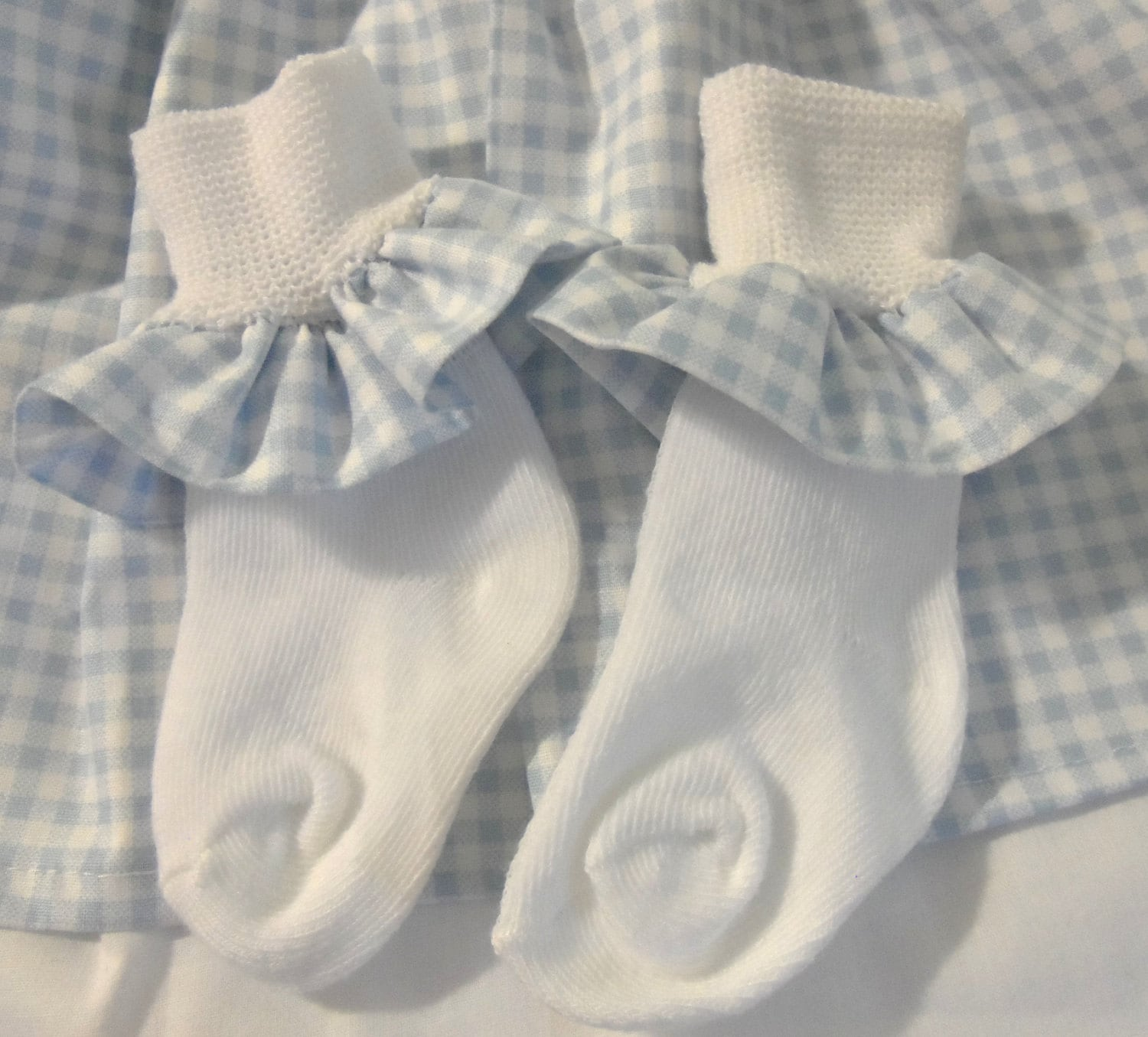 Dorothy Blue gingham ruffle socks -child size  fits 6 to 18 months