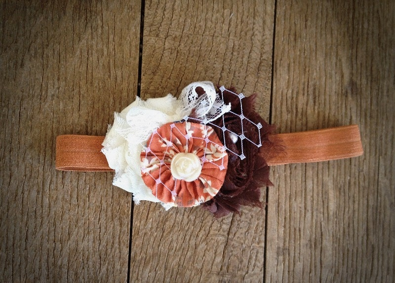 Vintage collection: Pumpkin spice vintage shabby chic headband. Baby girl headband. Autumn headband. Thanksgiving headband. Fall headband