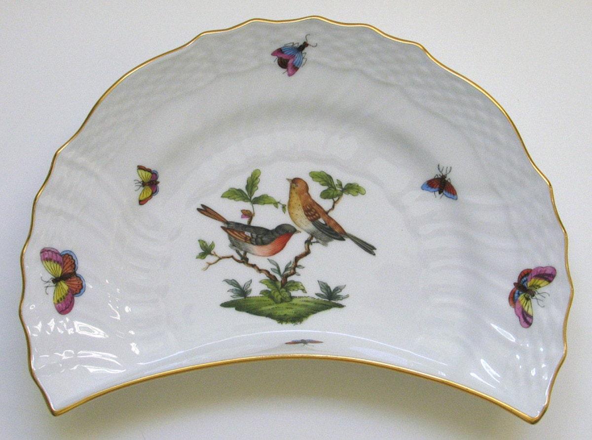 Herend Rothschild Bird Crescent Plate