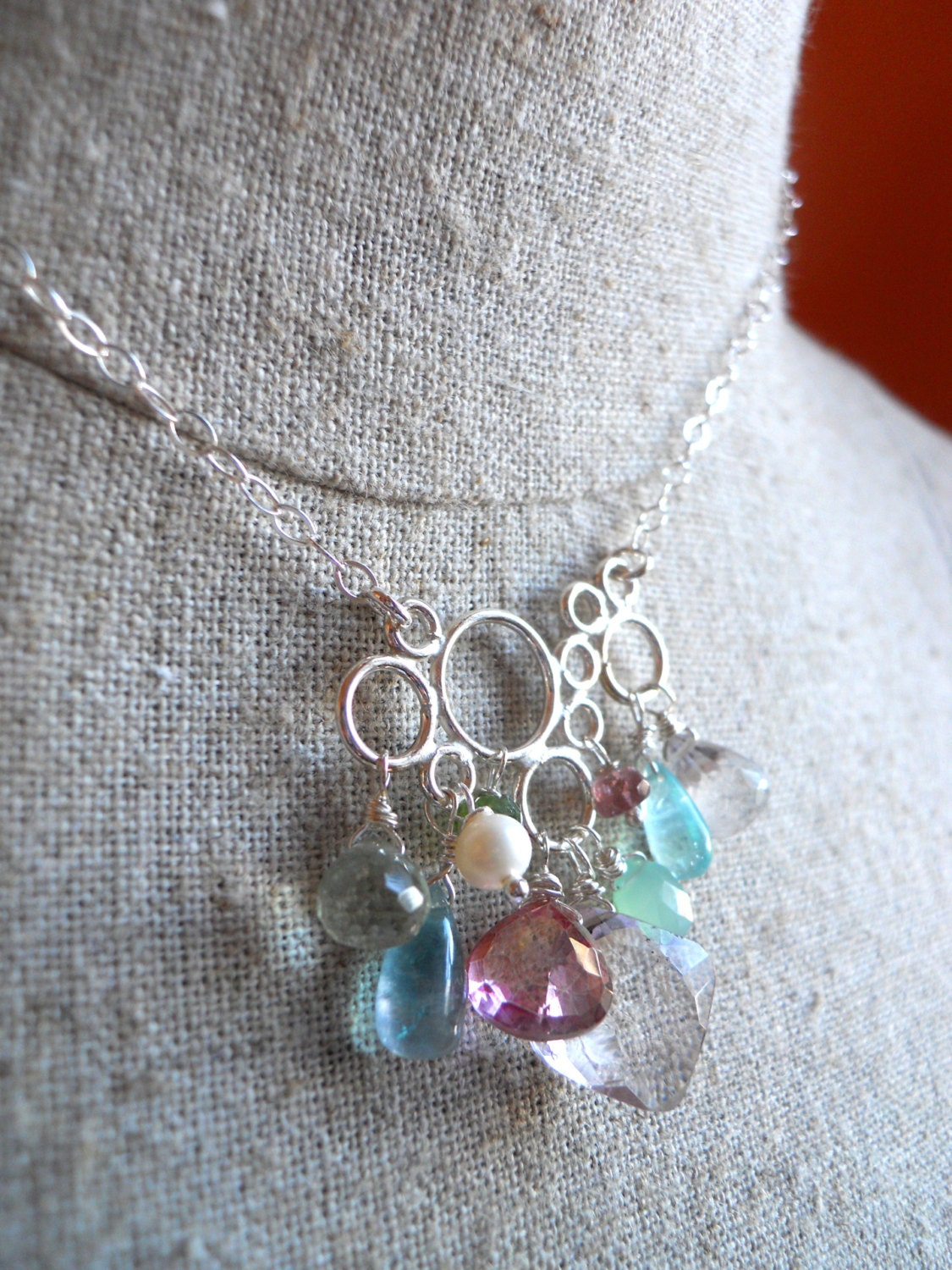 Pink and green bubble necklace with chrysoprase, fluorite, pearl, mystic quartz - $95.00 USD