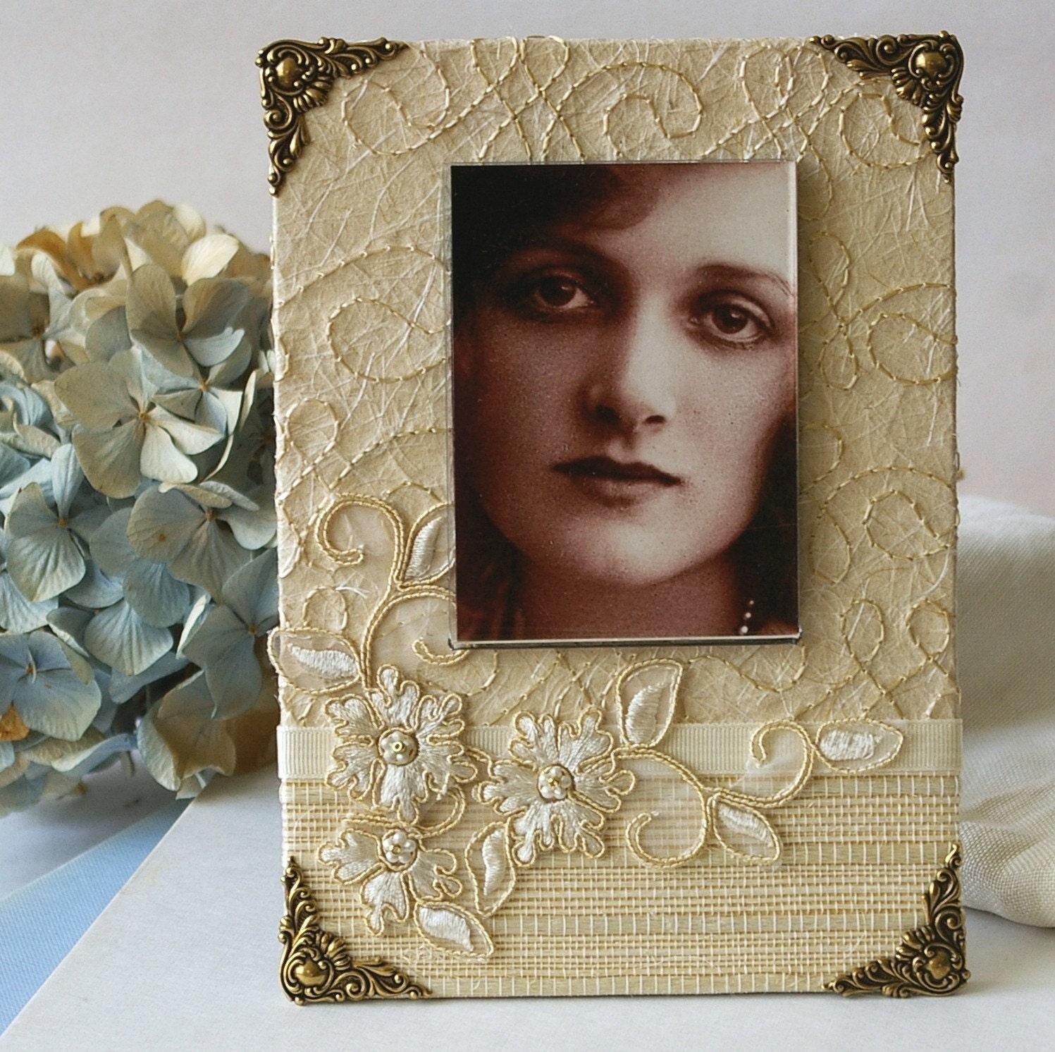 Декоративная рамка для фотографий, ручная работа, сливки, для невесты, невесты подарки