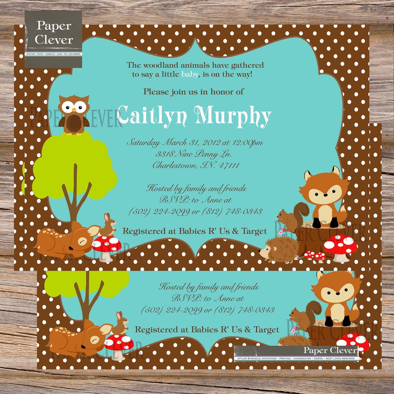 baby shower invitation woodland animals birthday digital file