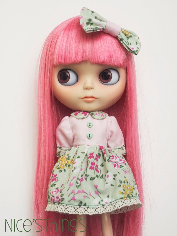 Flowered dress SET for Blythe doll - Pink & Flowers - Nicesthings