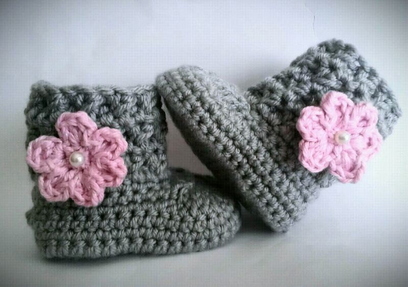 Crochet Baby Girl Boots, Pink and Gray Baby Girl Booties - CutestlittleThing