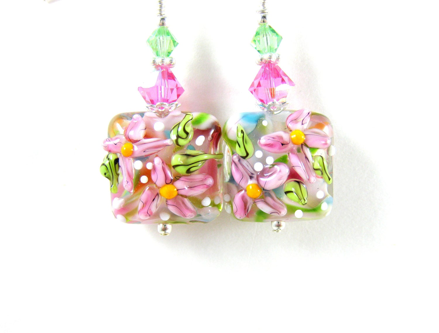 Pastel Pink Flower Earrings, Floral Lampwork Earrings, Pink Beadwork Earrings, Pastel Earrings, Dangle Earrings - Flower Bed - GlassRiverJewelry
