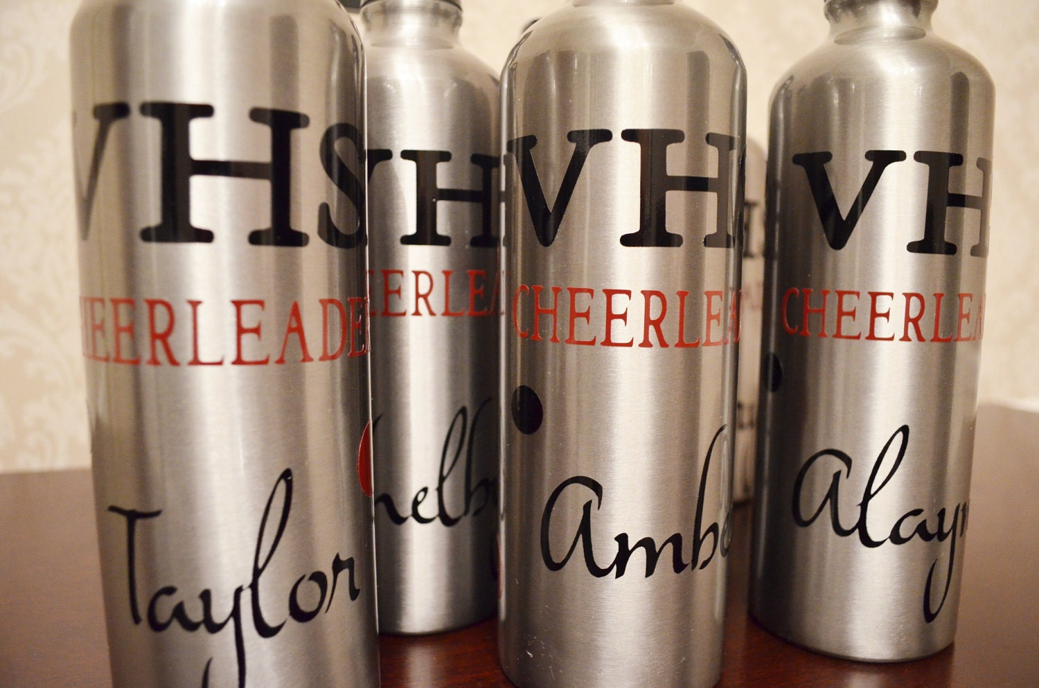 Personalized Aluminum Water Bottle with Polka Dots