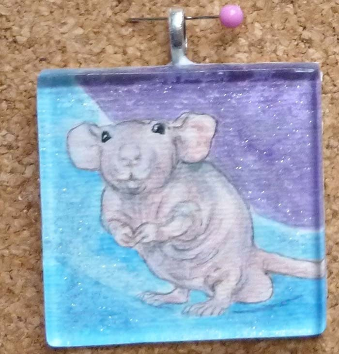 Silly Hairless Dumbo Rat OOAK Watercolor Pendant Wearable Art - Drusilla