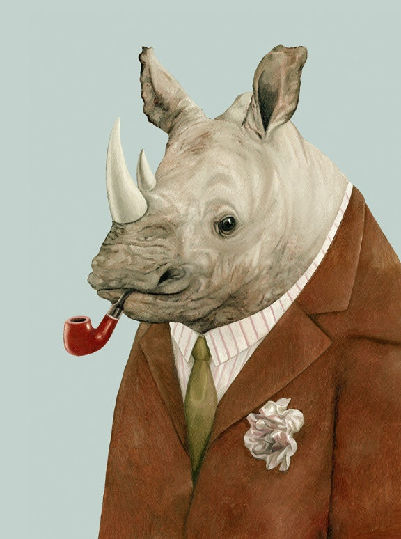 "Rhino. 8"" x 10"" archival art print - animalcrew"