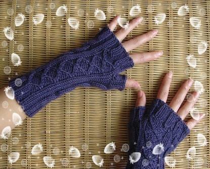 بازوی بنفش پشم دستکش گرم fingerless