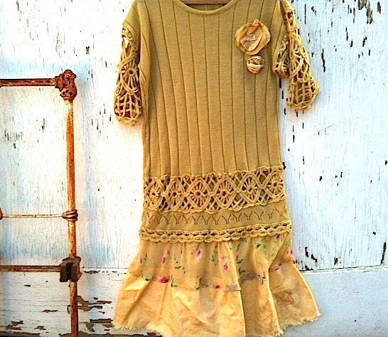 summer honey yellow flowers knit Mustard rustic west crochet Upcycled tunic ruffle knit dress - kateblossom