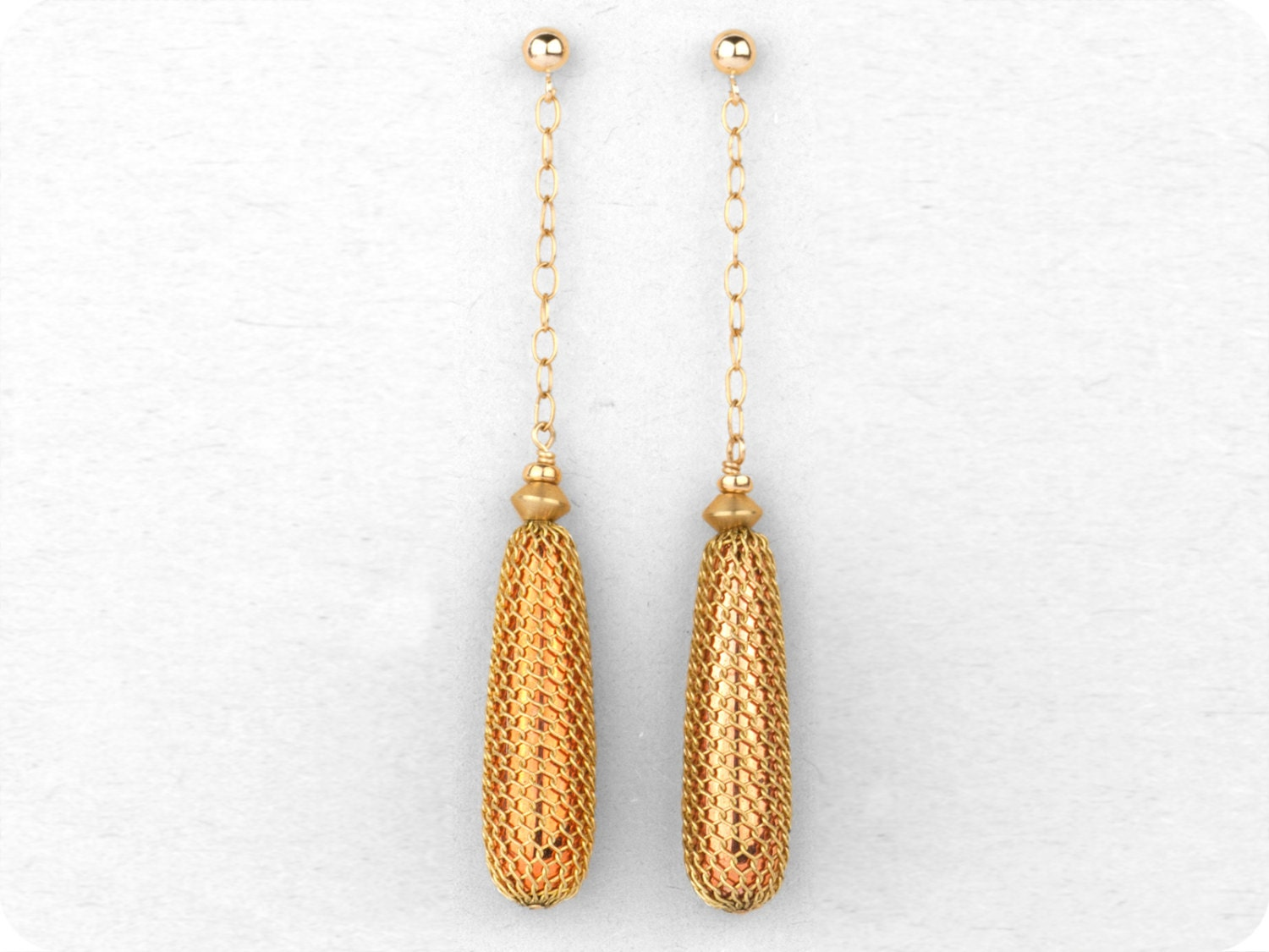 Gold Filled, Long Dangle Drop, Statement Earrings. - crimsonandfinch