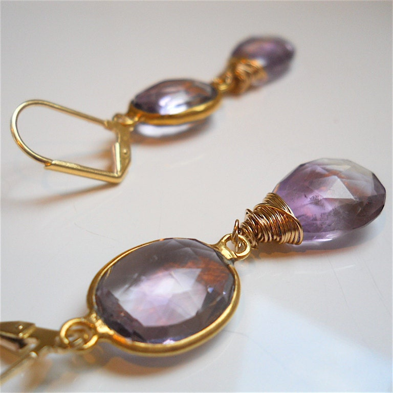 Ametrine Earrings with Bezel Set Gemstones Wire by YOURDAILYJEWELS from etsy.com